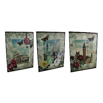 3 Pc. New York, London, Rome Decorative Glass Wall Hanging Set