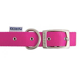 Heritage Nylon Collar Raspberry 12mm X22-26cm