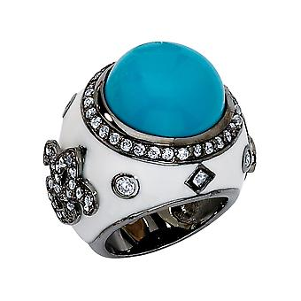 Cheryl M. Created Turquoise Cocktail Ring with Cubic Zirconia (CZ) (CZ) in Sterling Silver with Black Rhodium Plating
