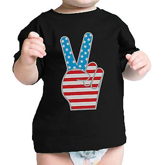 American Flag Peace Sign Black Cotton Infant Tee 4th Of July Gift