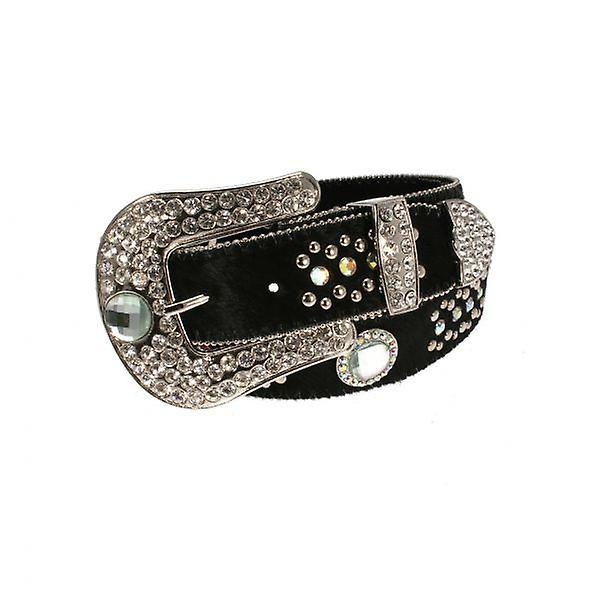 W.A.T Black Leather Hide Belt With Crystal Buckle And Studs