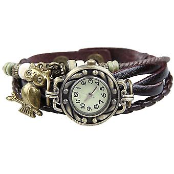 Boolavard® TM Owl Quartz Fashion Weave Wrap around Leather Bracelet Women Wrist Watch