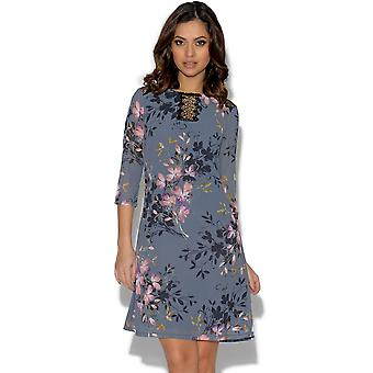 Little Mistress Floral Print Lace tuniek Dress