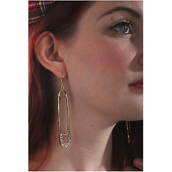 Jewelry and crowns  Safety pin earrings with Rhinestone