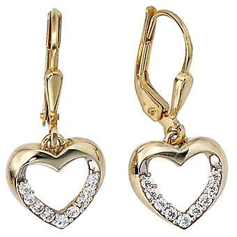 Earring earrings boutons heart, 333 / - Gelbgold, part rhodium plated, with cubic zirconia