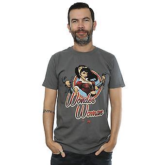 DC Comics Men's Bombshells Wonder Woman Badge T-Shirt