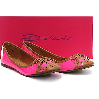 Dolcis Fuchsia/Tan Bow Detail Ballet Pumps Womens Slip On Shoe