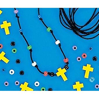 12 Christian Faith Beaded Cross Necklace Craft Kits | Sunday School Messy Church