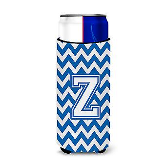 Letter Z Chevron Blue and White Ultra Beverage Insulators for slim cans