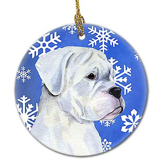 Boxer Winter Snowflakes Holiday Christmas Ceramic Ornament SS4647