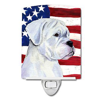 Carolines Treasures  SS4036CNL USA American Flag with Boxer Ceramic Night Light