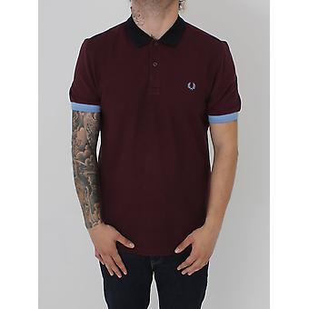 Fred Perry Colour Block Pique Polo - Mahogany