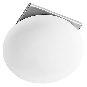 Satin Silver And Opal Glass Round Recessed Spotlight - Searchlight 8060r-1ss