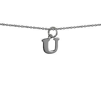 Sølv 11x11mm plain indledende U vedhæng med rolo kæde 14 inches kun egnet for børn