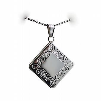 Silver 22mm diamond shaped hand engraved Celtic design Locket on a curb Chain 24 inches