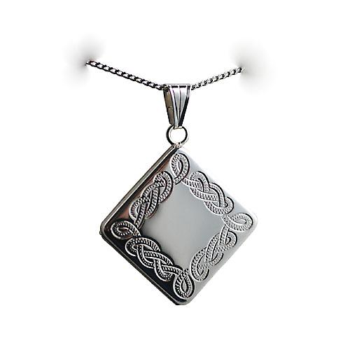 Silver 22mm diamond shaped hand engraved Celtic design Locket on a curb Chain 22 inches