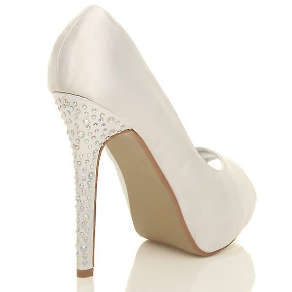 pumps prom high heel evening platform wedding womens Ajvani bridal shoes diamante court fOxPSBFFqW