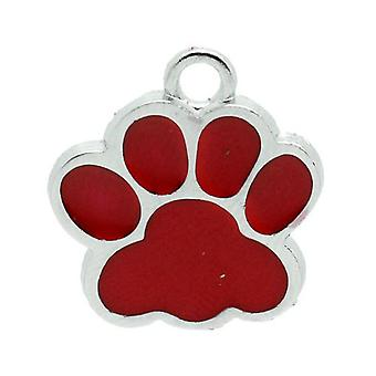 Packet 2 x Red/Silver Enamel 18mm Paw Print Charm/Pendant ZX10305