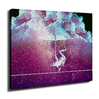Ombrello spazio animale Wall Art su tela 50 x 30 cm | Wellcoda