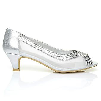 TRUE Silver Shimmering Diamante Low Heel Peep Toe Party Shoes