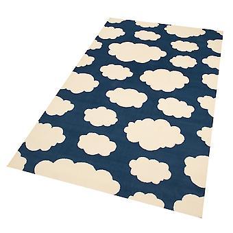 Design suede play mat for kids clouds dark blue 140 x 200 cm