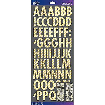 Sticko Alphabet Stickers-Gold Foil Stripe Futura Dimensional