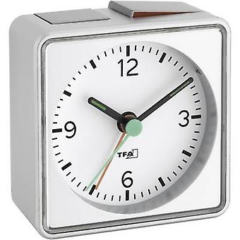 TFA 60.1013.54 Quartz Alarm clock Silver Alarm times 1 Fluorescent Hands