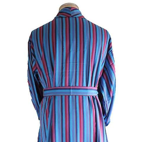 Bown of London Marylebone Dressing Gown - Light Blue/Navy/Red | Fruugo