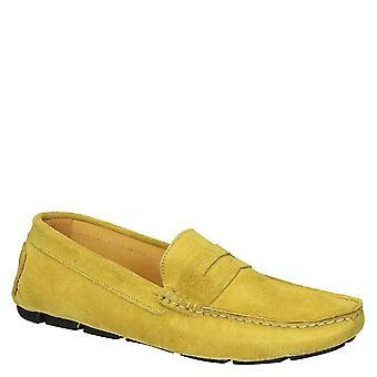 Yellow suede leather driving moccasins shoes for men