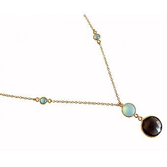 Gemshine - Damen - Halskette - Anhänger - 925 Silber - Vergoldet - Chalzedon - Rauchquarz - Meeresgrün - Braun - Facettiert - 45 cm