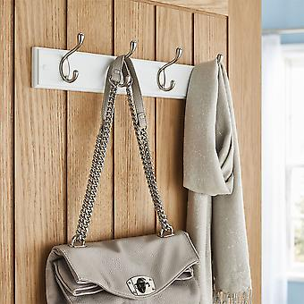 Quality Heavy Duty 4 Double Coat Hooks Wall Or Door Mountable White Wooden Board With FREE Fixings