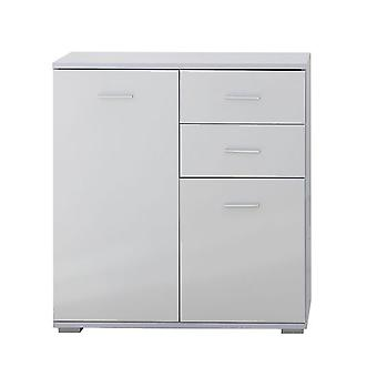 HOMCOM Modern High Gloss Side Cabinet Table Sideboard Chest of Drawer Bedroom Living Room Storage Furniture (White, 71x35x76CM)