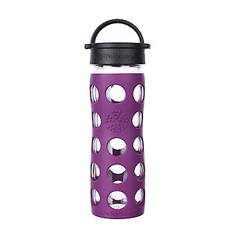 Lifefactory 16 oz Glass Water Bottle with Classic Cap and Silicone Sleeve - Plum