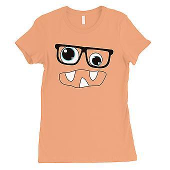 Monstro com t-shirt das mulheres pêssego de óculos