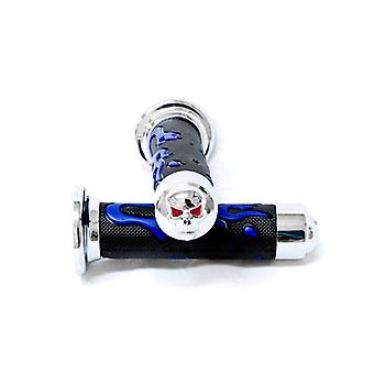 Blue Skull Motorcycle Rubber Hand Grips 7/8