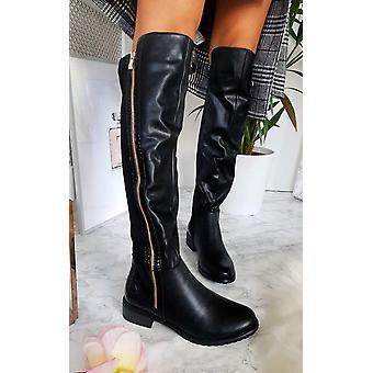 IKRUSH Womens Daffney Zip Knee High Boots
