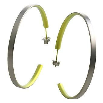 Ti2 Titanium Large Hoop Earrings - Lemon Yellow