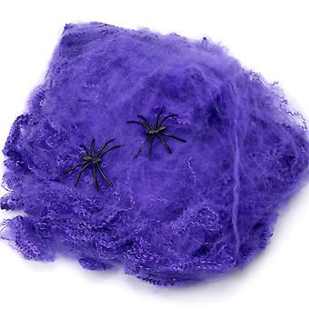 TRIXES Halloween stretchig Spider Web lila spindelnät dekoration med spindlar