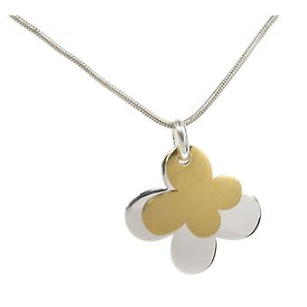 Cavendish French Silver and gold plate double butterfly pendant without Chain