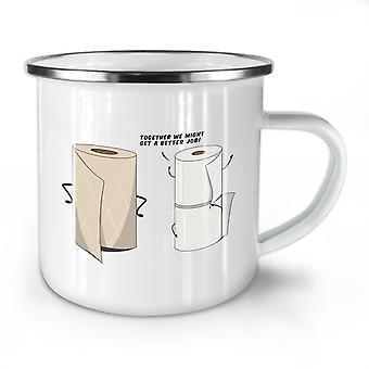 Toilet Towel NEW WhiteTea Coffee Enamel Mug10 oz | Wellcoda