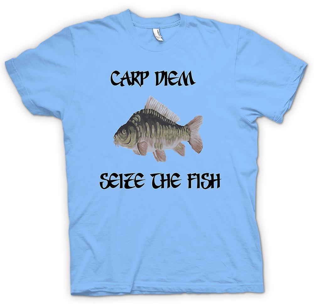 Mens T-shirt - Carp Diem - Seize The Fish - Funny