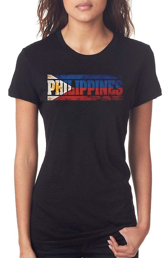 Filipino Phillipines Flag - Words Ladies T Shirt
