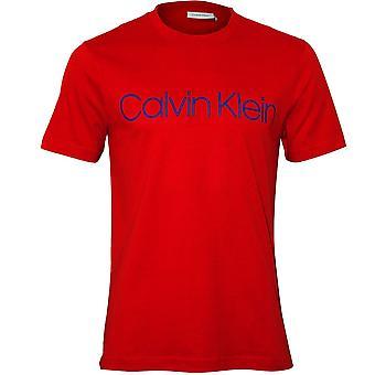 كالفين كلاين شعار الطاقم-رقبته القميص، الأحمر الناري