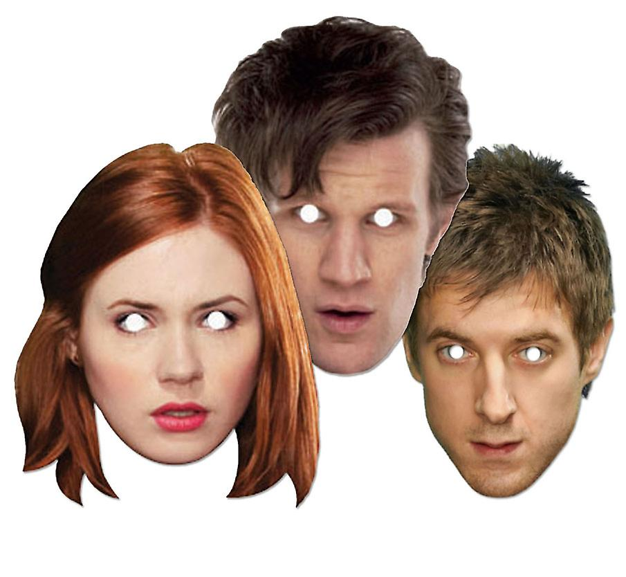 Doctor Who and Companions Party Card Face Masks Set of 3 (Dr Who, Amy Pond and Rory)
