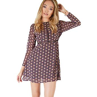 Goldie London Navy Long Sleeved Tea Dress With Ditsy Floral Print