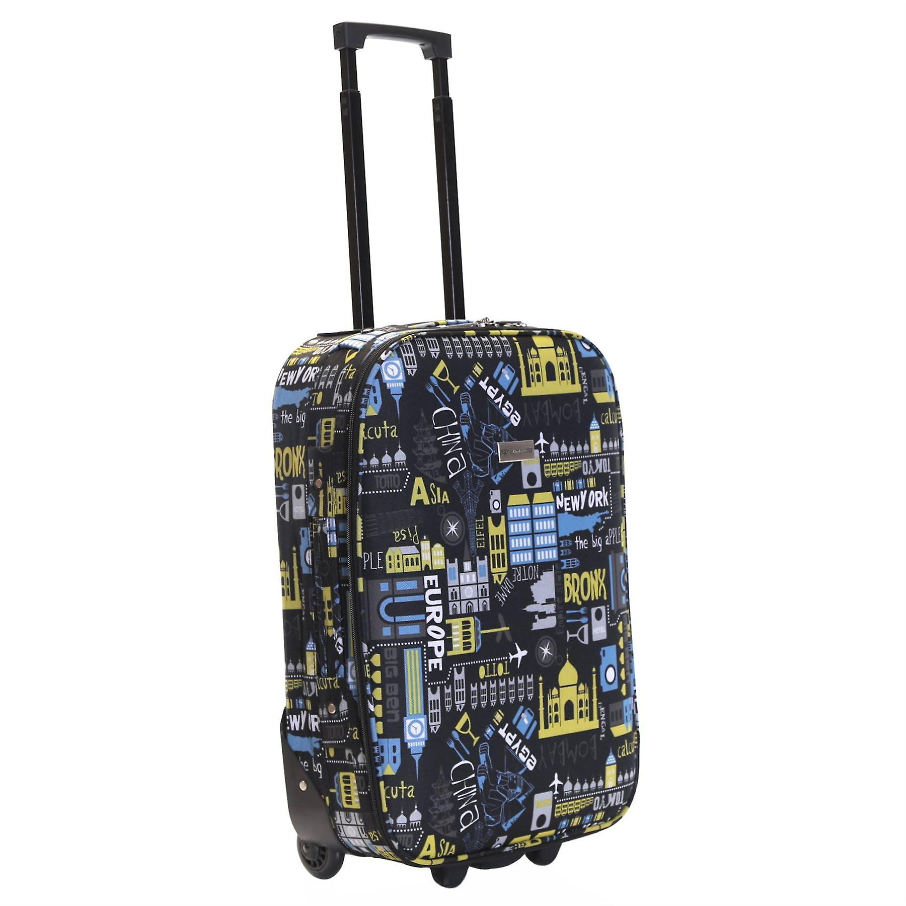 Slimbridge Algarve 55 cm Super Lightweight Suitcase, Black/Blue