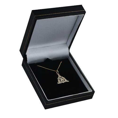 9ct Gold 17x16mm triple Celtic Trinity knot Pendant with a curb Chain 16 inches Only Suitable for Children