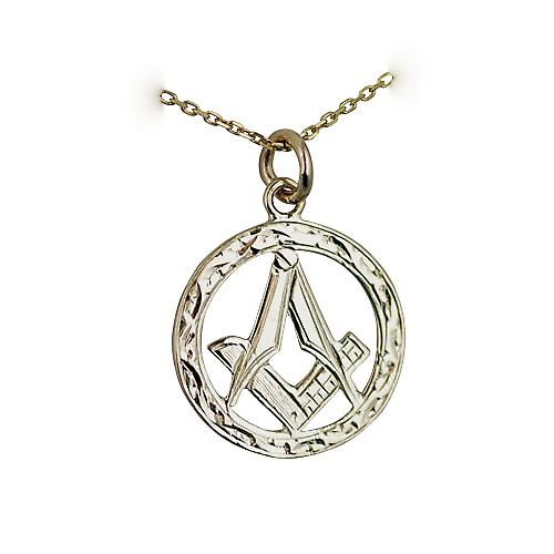 9ct Gold 21mm Hand engraved Masonic emblem in circle with G Pendant with a bright cut cable link chain