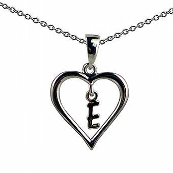 Sølv 18x18mm første E i et hjerte anheng med en rolo kjede 20 inches