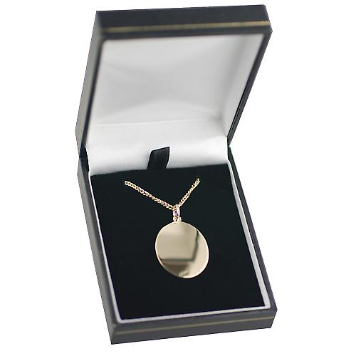 9ct Gold 30x21mm oval St Christopher Pendant with a curb Chain 16 inches Only Suitable for Children